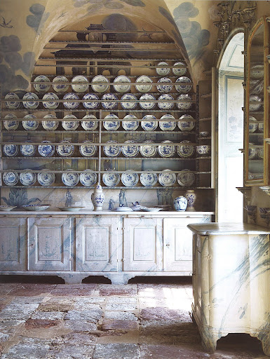 The porcelain kitchen at Thureholm Manor includes this prized collection and amazing faux painting.