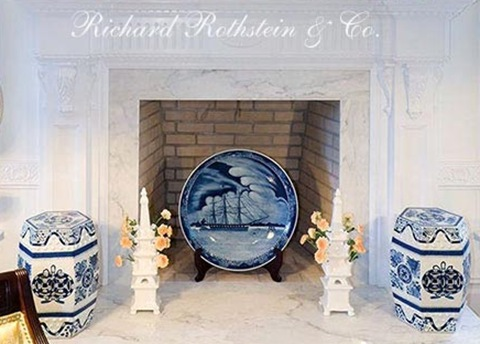 fireplace and mantel decorated with Chinese porcelain