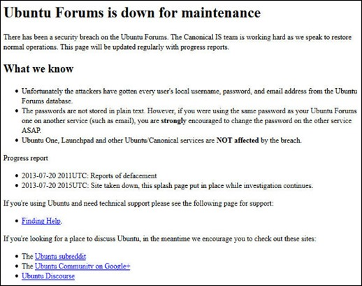 Security breach at Ubuntu Forums compromised