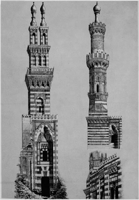 Minarets of Qanibay al-Rammah at Nasiriya mosque, 15th century & al-Burdayni mosque, 17th century. Contrasting minarets, cubical and cylindrical— both have tnlobed arches, muqarnas, and alternating vertical and horizontal voussoirs. The Nasiriya minaret exploits alternating voussoir designs featured in the portal frame, whereas the al-Burdayni mosque displays intricate carvings.