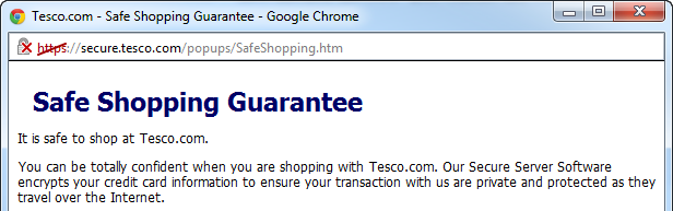 Tesco's Safe Shopping Guarantee