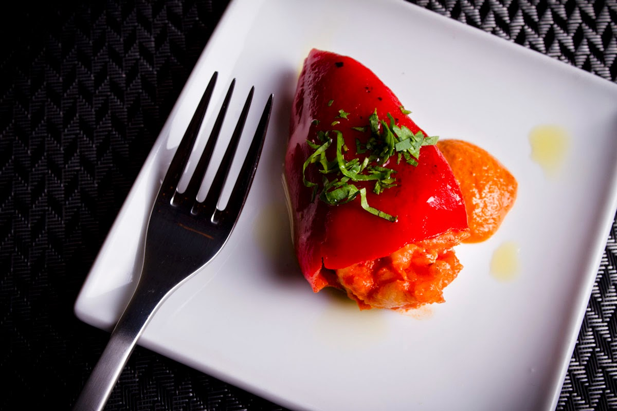 Roasted piquillo peppers stuffed with chunks of sweet crab meat and ...