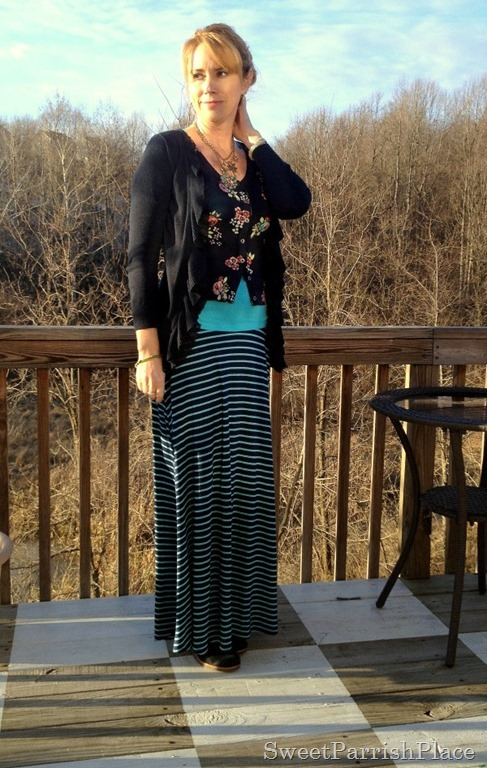 striped maxi and floral sweater