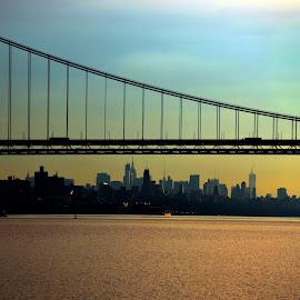 NYC under GW by Joe Adams - City,  Street & Park  Skylines ( george washington bridge, sunset, manhattan, nyc )