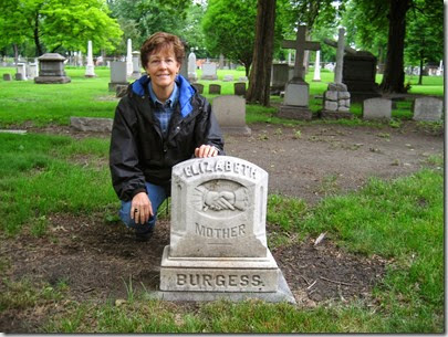 Diane at Elizabeth Burgess' headstone