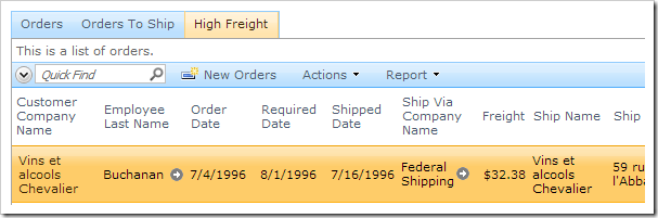 The order date is not updated for the same record in a different tab.