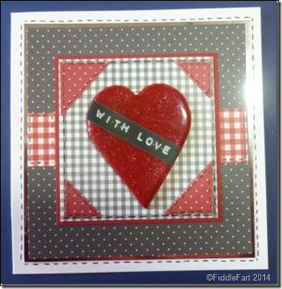 Black red and white heart valentine card