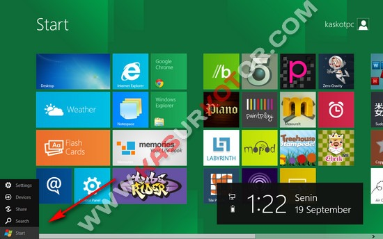 Tombol Start di Windows 8