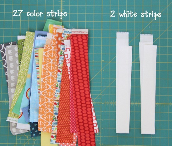 Cut strips for the rainbow quilt