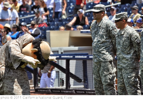 'San Diego Padre's mascot bows praise to California National Guard troops' photo (c) 2011, California National Guard - license: http://creativecommons.org/licenses/by/2.0/