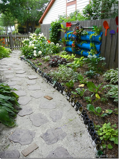 Wine Bottle Path And Wall Garden