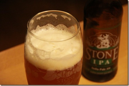 Stone IPA foamy glass