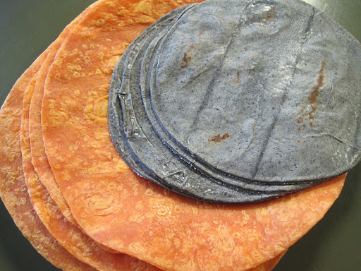 Habanero-lime tortillas and blue corn tortillas.