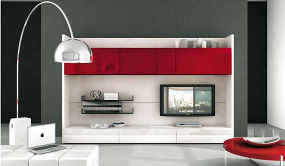 Mueble de TV rojo plastificado
