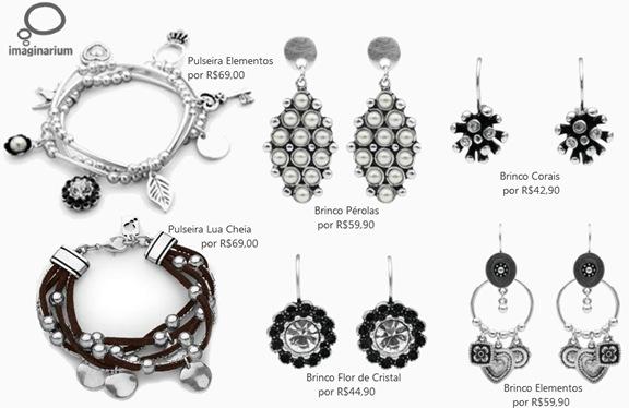 Linha de bijoux Imaginarium: Brincos, anéis, pulseiras e colares.