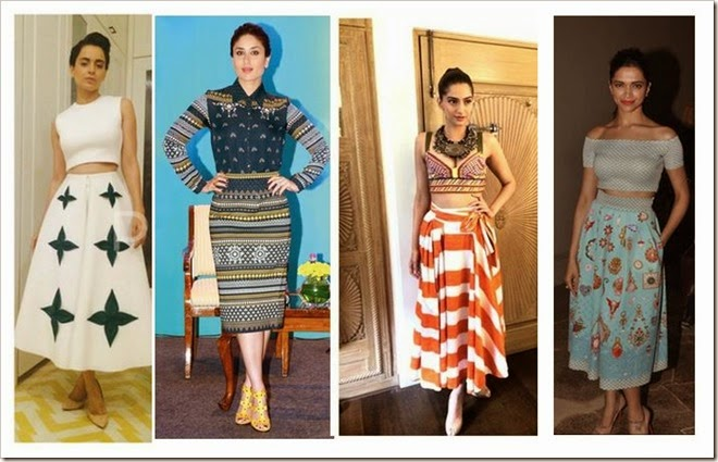 midi skirt trend by Bollywood divas