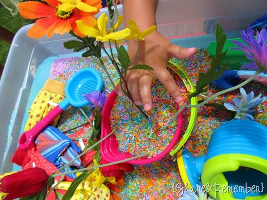 planting flowers dramatic play Rainbow Rice & Garden Sensory Play