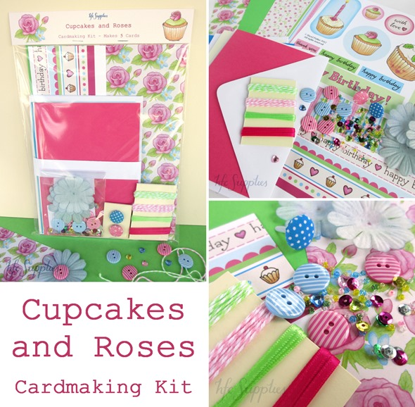 Cupcakes and Roses cardmaking kit 6 paper card buttons beads embellishments