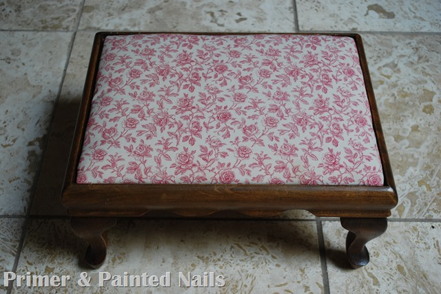 Footstool Before - Primer & Painted Nails