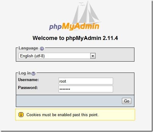 phpmyadmin passlogon