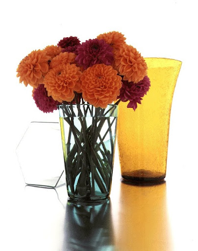 Dahlias in a vase. (Martha Stewart Living)