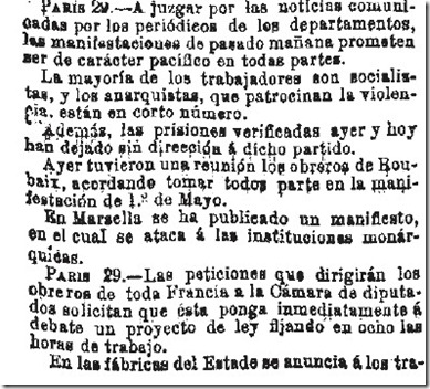 1890-04-30 - La Iberia - 01 (Preparativos del 1º de Mayo - Francia - 2)