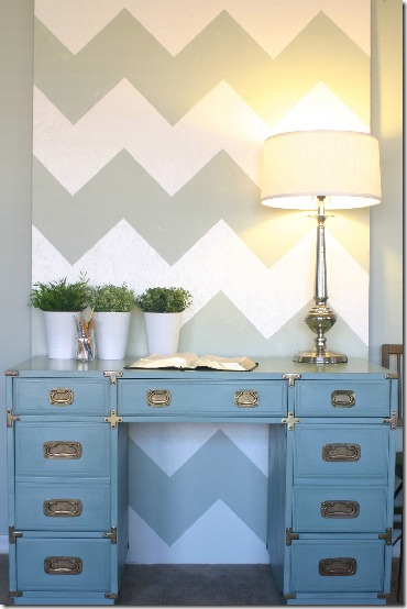 Vintage Drexel Heritage Chloe desk painted with Duck Egg Blue Annie Sloan Chalk Paint
