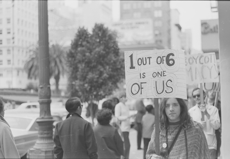 Gay Liberation Front (GLF) protest of Macy's department store in San Francisco. August 1970.