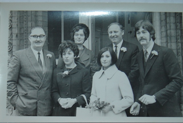 """Here's a pic from my Mum and Dad's wedding in 1968-my Dad is the dude with the huge sideburns and handle-bar moustache! He was only 24 years old here-my Mum is also looking dead groovy in her vintage Jaegar coat!"