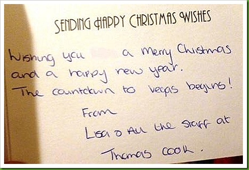 Christmas Card from Lisa at Thomas Cook Wolverhampton