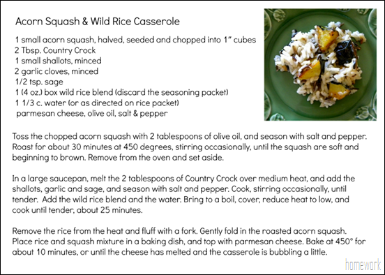 Country Crock Recipe Card
