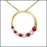 Round Ruby and Diamond Circle Journey Pendant in 14K Yellow Gold