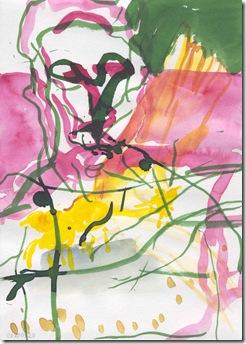 Naseen Kiliani Voegel IV; Aquarell und Tusche; 29,7 x 21 cm