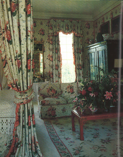 The full-bloodded roses and pansies of Lady Annabel Goldsmith's bedroom chintz is fantastic.