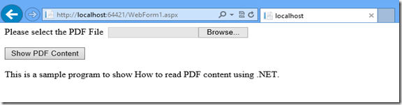 How to read PDF Content using .NET output