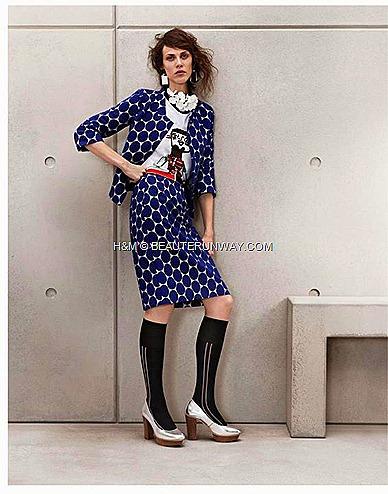 Marni H&M Blue Polka Dot Print Jacket, marni t-shirt, Blue printed skirt,  flower necklace Leather Shoes with Heels, Long socks