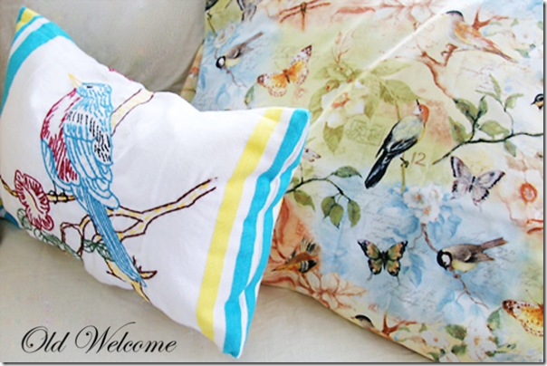 kitchen towel pillow bird turquoise yellow embroidery old welcome