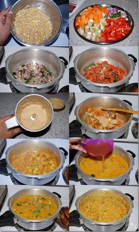 Brown rice kadhamba sadham process