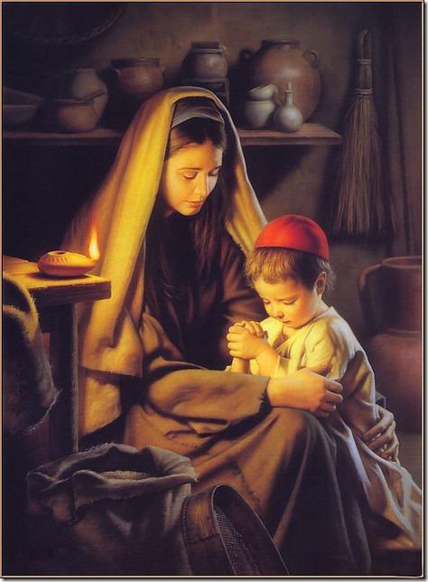 Jesus praying -as a child