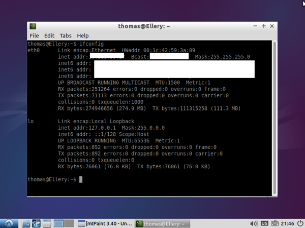 IFCONFIG shows the IP address