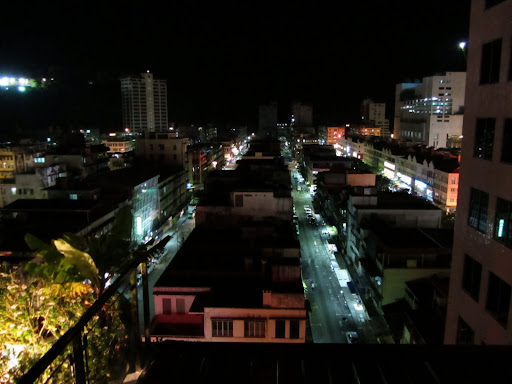 The eerily quiet streets of downtown Sandakan.