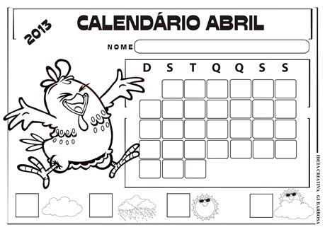 calendário abril 2013 galinha pintadinha