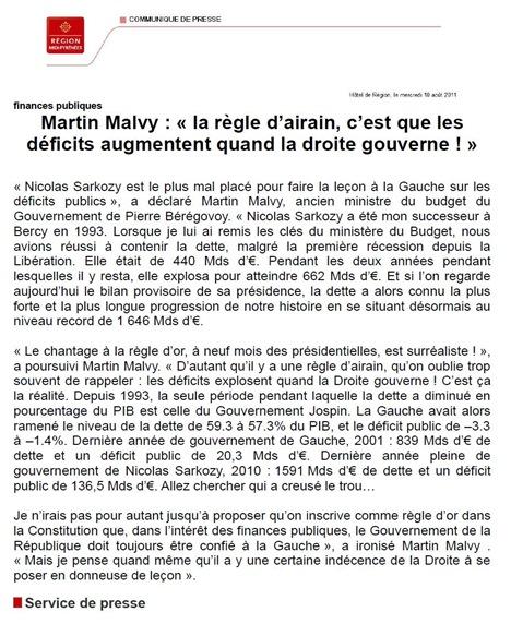 Comunicat de premsa de Martin Malvy 100711