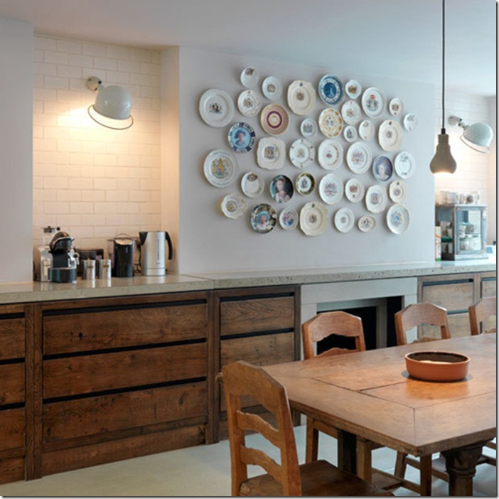 Rustic Kitchen with Plate Gallery Wall