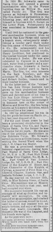 Schwartz Louis Obituary Santa Cruz Sentinel 24 May 1893 Part 2
