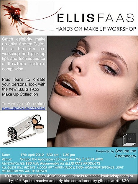 Ellis Faas Makeup workshop Spring Summer 2012 Sccube  Apothecary Ngee Ann City lipstick foundation concealer eyeshadow blusher