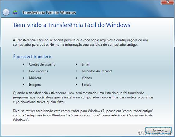 Transferência fácil do Windows