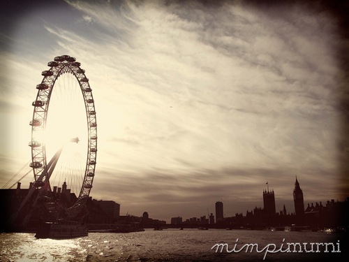 A view of London Eye & Westminster from the River Thames.