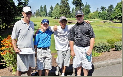PeeWee Golf group Larry, Danny, Jonathon, Bryce