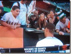 Tanner on TV at Giants Game